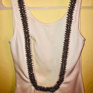 White scoop neck dress